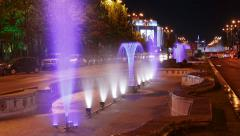 Bucharest, Romania Night Timelapse of the Water Fountains at Union Square (Piata Stock Footage