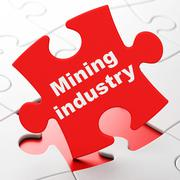 Manufacuring concept: Mining Industry on puzzle background Piirros