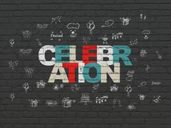 Stock Illustration of Entertainment, concept: Celebration on wall background