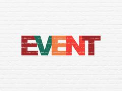 Holiday concept: Event on wall background - stock illustration
