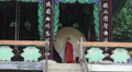 Monk Stands Infront of Drum At Jogyesa Buddhist Temple 4k or 4k+ Resolution