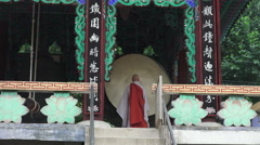 Monk Stands Infront of Drum At Jogyesa Buddhist Temple Stock Footage