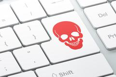 Healthcare concept: Scull on computer keyboard background - stock illustration
