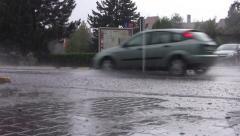 Car traffic on heavy rain 06 - stock footage