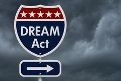 American DREAM Act Highway Road Sign - stock illustration