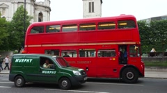 Routemaster Bus passing St Paul's Cathedral. - stock footage