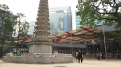 Pillar At The Jogyesa Buddhist Temple Stock Footage