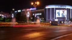Bucharest, Romania Night Timelapse in the Roundabout at Union Square (Piata Stock Footage