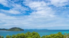 Seascape of Tropical Island with Blue Sky and Sea. Timelapse Stock Footage