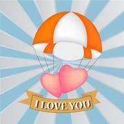 Heart at parachute, vector Stock Illustration