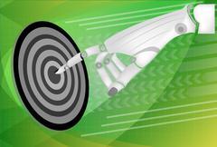 Stock Illustration of Leader hand working pressing on target goal concept
