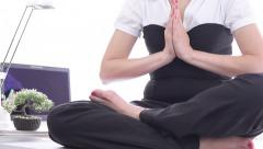 Spectacle, smart office woman worker diving meditative state, desk lotus namaste Stock Footage