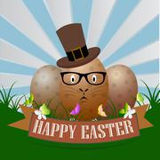 Stock Illustration of Easter background with eggs in grass