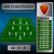 Football background, team info charts and manager. Vector illustration. - stock illustration
