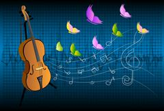 illustration of violin on colorful abstract grungy background - stock illustration