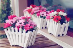 artificial flowers pot - stock photo