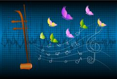 Stock Illustration of Treble fiddle or soprano Sounded string Thai music instrument