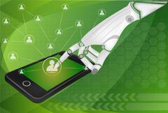 social network, communication in the global smart phone networks - stock illustration
