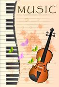 Illustration of violin on colorful abstract grungy background Piirros