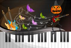 Pumpkin-headed skeleton, playing guitar. - stock illustration