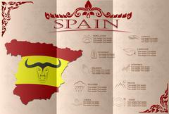 Spain  infographics, statistical data, sights. Vector illustration Stock Illustration