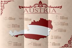 Austria infographics, statistical data, sights. Vector illustration. - stock illustration