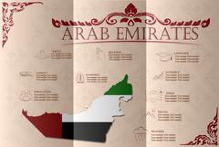 United Arab Emirates infographics, statistical data, sights. Vector illustrat - stock illustration