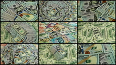 Split screen close up rotation of dollars and world money. Stock Footage