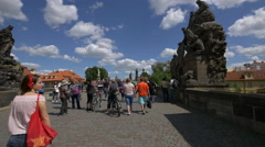 Crowd on Charles Bridge in Prague Stock Footage