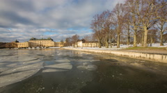 Drottningholm Palace, lake ice floes Stock Footage