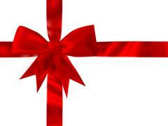 Shiny red satin bow Set. EPS 10 - stock illustration