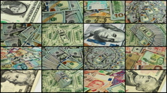 Split screen close up rotation of dollars and banknotes from allover the world. Stock Footage