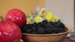 Bowl with Blackberry on the Table Stock Footage