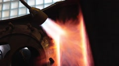 Burning gas torch metal sparks and fire Stock Footage