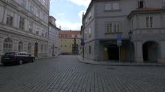 View of a statue in Maltese Square, Prague Stock Footage