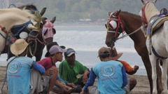 Men with horses resting and talking on beach,Pangandaran,Java,Indonesia Stock Footage