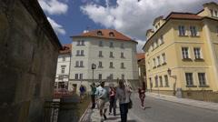 Tourists walking on Na Kampe street, Prague Stock Footage