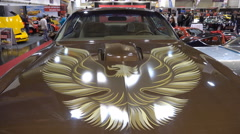 4k Classic Pontiac Trans Am front view motor-show Stock Footage