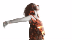 Afro girl with arms raised double exposure with sparkler Stock Footage