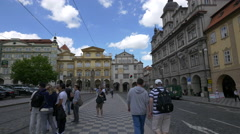 Beautiful ornate building facades in Lesser Town Square, Prague Stock Footage