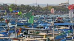 Boat returning in harbour,Pangandaran,Java,Indonesia Stock Footage