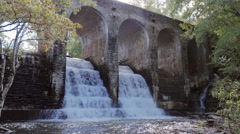 Below Byrd Creek Dam Waterfall Cascade Ancient Aqueduct Static Stock Footage