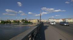 Driving on Jirasek bridge in Prague Stock Footage