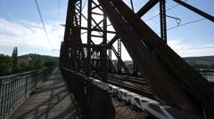 Railway bridge over Vltava River, Prague Stock Footage