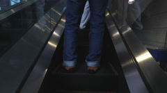 escalators are shown that constantly run upstairs . - stock footage