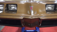 Classic Pontiac Trans Am front view motor-show Stock Footage