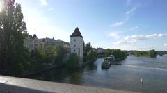 Vltava River seen from Jirasek bridge, Prague Stock Footage