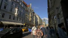 Kaprova Street with restaurants in Prague Stock Footage
