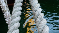Details of boat ropes, nautical vessel - stock footage