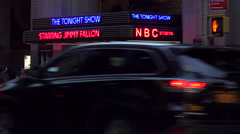 Establishing shot of the NBC studios at Rockefeller Center and the Tonight Show Stock Footage